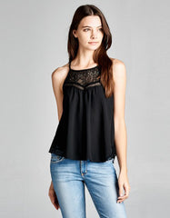 Tank Top Black With Lace Neckline