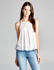 Tank Top White With Lace Neckline