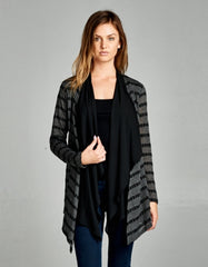 Textured Knit Draped Black Cardigan