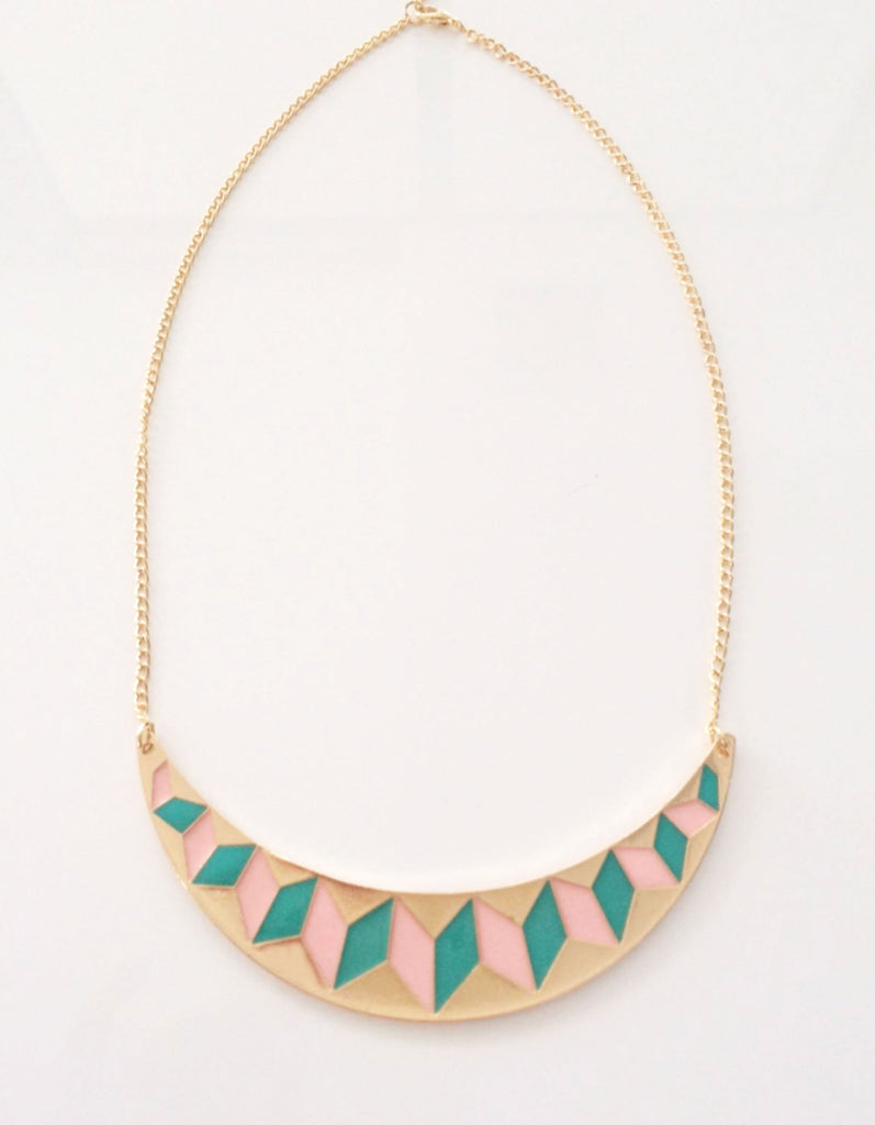 Geometric Green Round Necklace