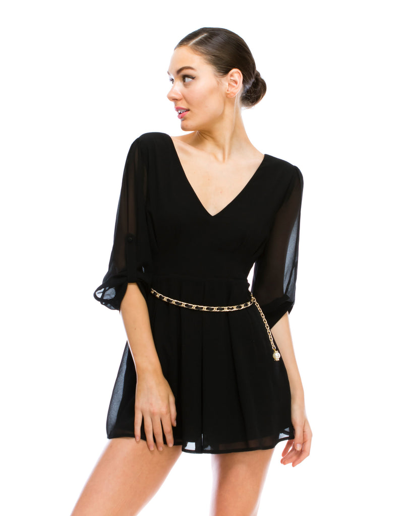 V-Neck Black Romper with Beaded Belt
