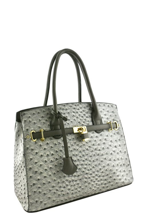 Elegant Ostrich Print Grey Padlock Top Handle Tote Bag