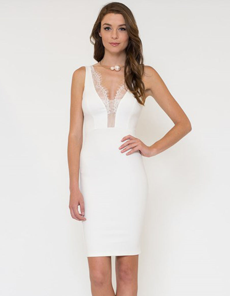 V Neck Lace Detail White Dress