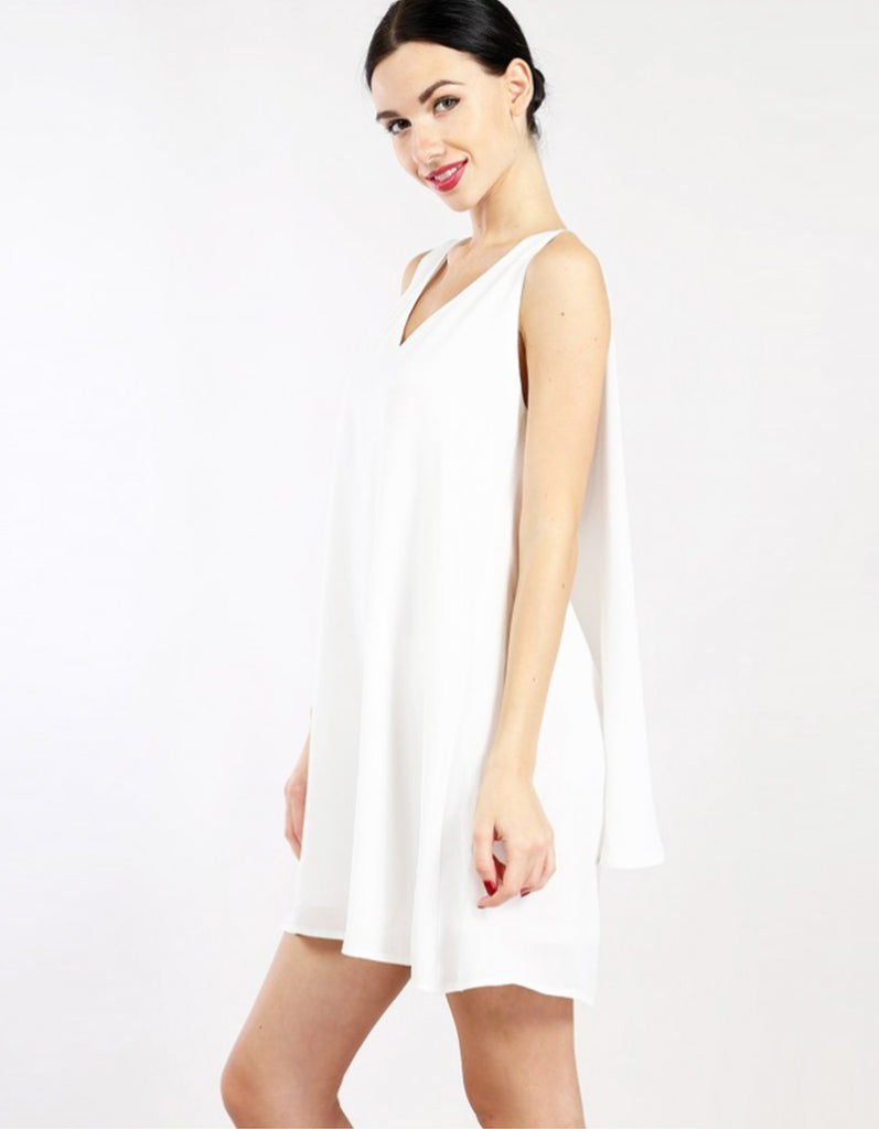 V Neck Layered White Dress