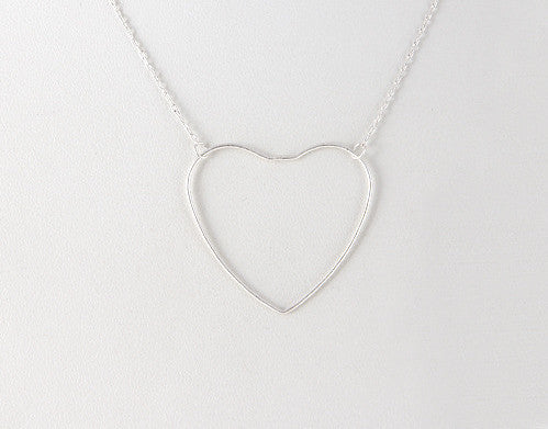 Fashion Heart Pendant Silver Necklace