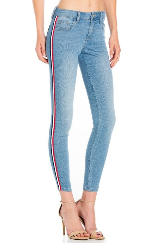 Skinny Jean with Medium Blue Wash Striped Side Detailed
