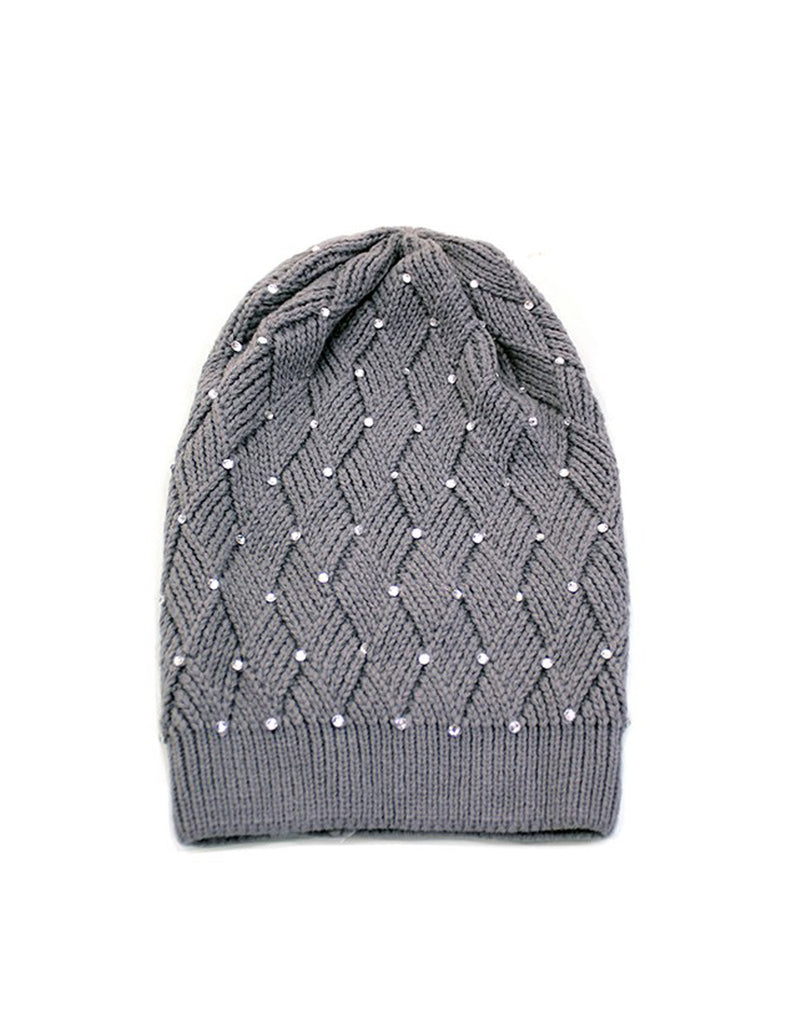 Woven Grey Hat With Crystal Embellishments