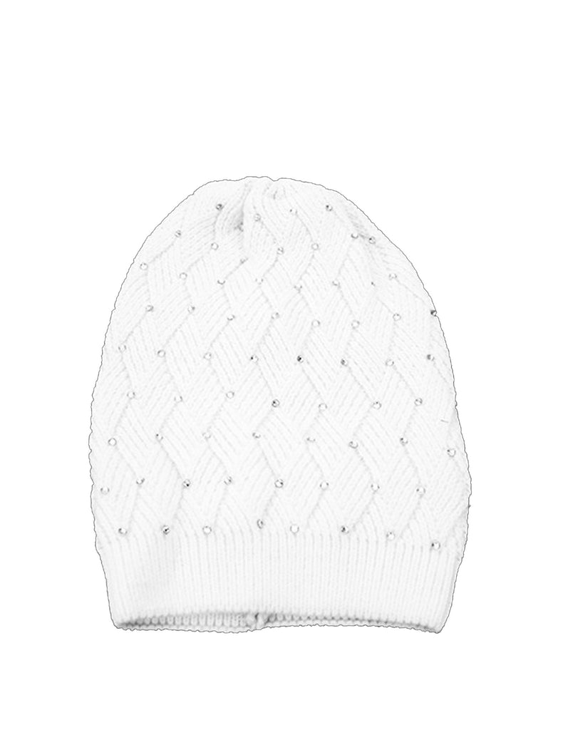 Woven White Hat With Crystal Embellishments
