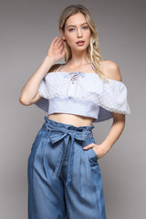 Elegant Marine Ruffle Texture Detailed Strap Blue Crop Top