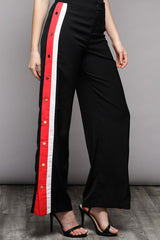Elegant Black Jogging Pants with Side Detailed