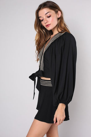 Fashion Black Gold Embroidery Puffy Sleeve Tie-Up Top