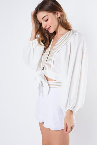 Fashion White Gold Embroidery Puffy Sleeve Tie-Up Top