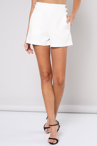 Elegant White High Waisted Gold Button Detailed Shorts