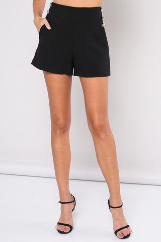 Elegant Black High Waisted Gold Button Detailed Shorts