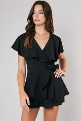 Fashion Black Wrap Ruffle Romper