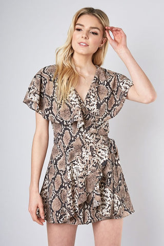 Fashion Animal Print Wrap Ruffle Romper