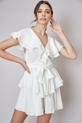 Fashion Summer White Wrap Tie-Up Ruffle Romper