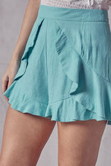 Fashion Summer Seafoam High Waisted Ruffle Shorts