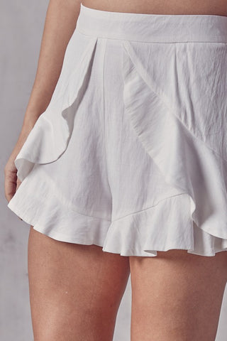 Fashion Summer White High Waisted Ruffle Shorts
