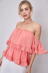 Elegant Off Shoulder Light Coral Textured Detailed Ruffle Top