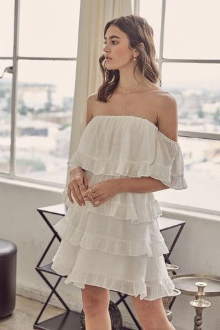 Fashion Summer Off Shoulder White Ruffle Dress