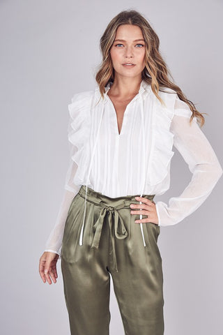 Elegant White Tie-Up Ruffle Pleated Detailed Long Sleeve Blouse