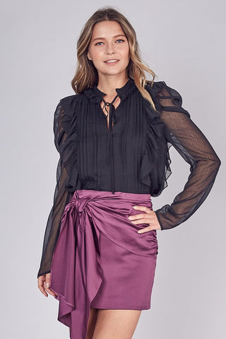 Elegant Black Tie-Up Ruffle Pleated Detailed Long Sleeve Blouse