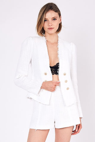 Elegant White Detailed Texture Gold Button Jacket