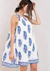 Casual Halter Ivory Dress with Blue Print