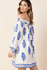 Casual Off Shoulder Ivory Dress with Blue Print Long Sleeve