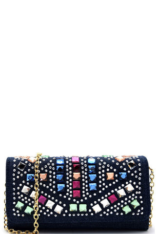 Elegant Denim Multi-Color Rhinestone Wallet