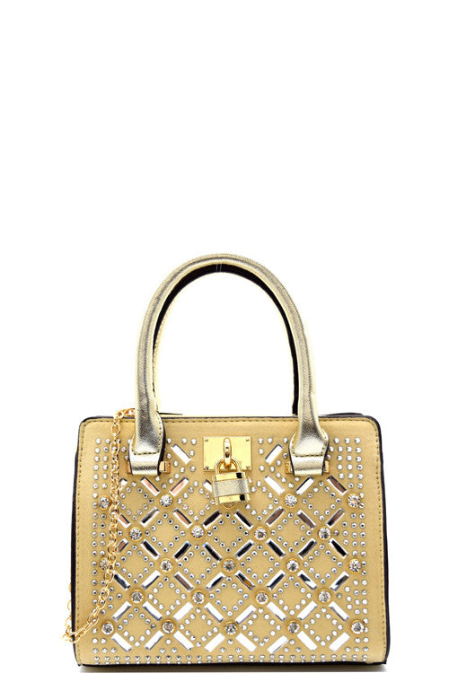 Cocktail Rhinestone Gold Frame Champagne Satchel Mini Bag