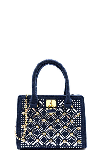 Cocktail Rhinestone Gold Frame Denim Satchel Mini Bag