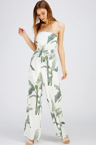 Fashion Strapless White Tropical Print Tie-Up Jumpsuit