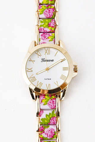 Elegant Golden Edged Flower Watch