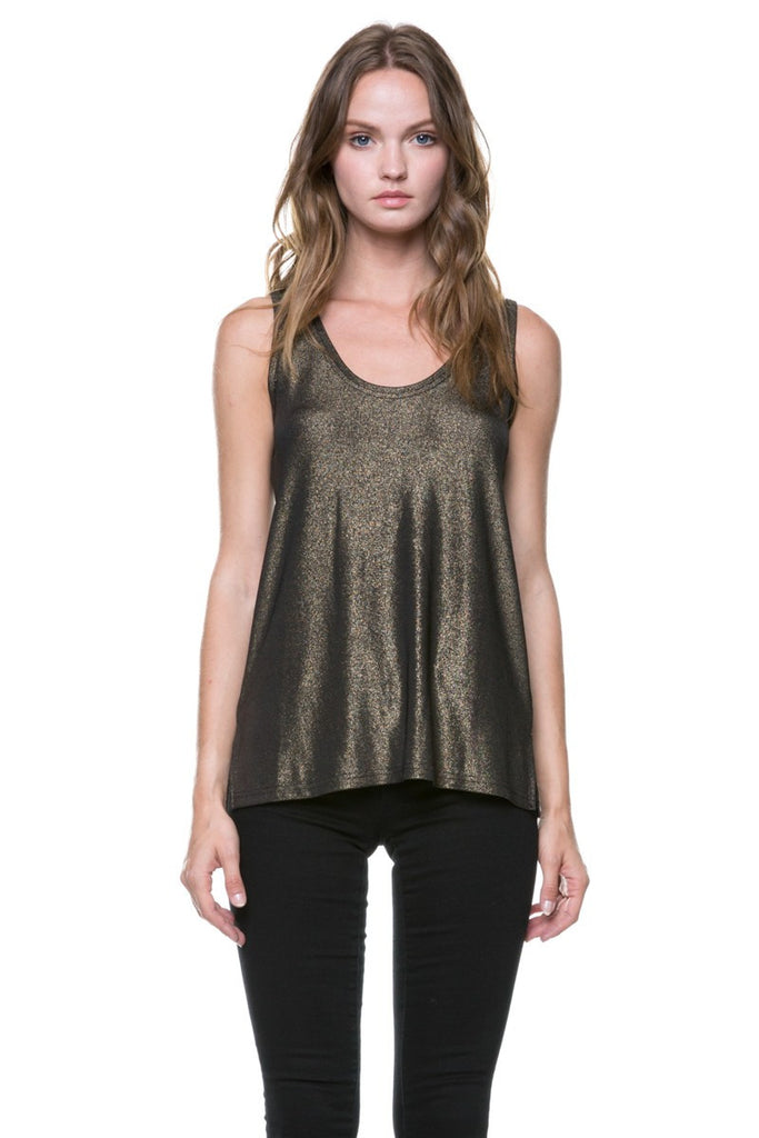 Casual Shimmer Gold Tank Top