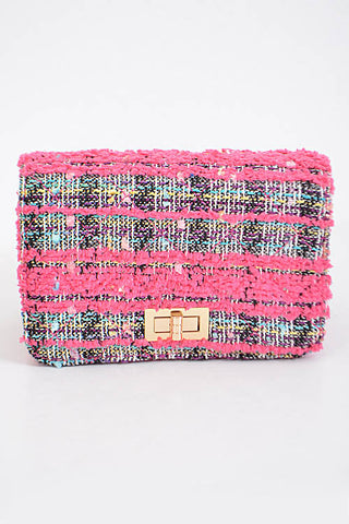 Fashion Fuschia Handbag with Stitched Detail