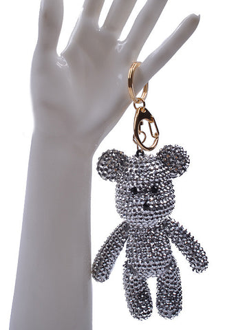 Mini Bear Silver Crystal Key Chain