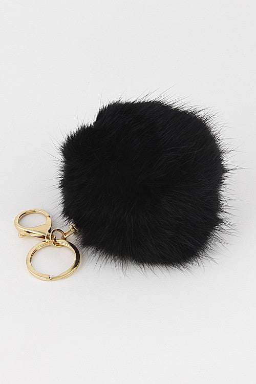 Small Black Pom Pom Gold Key Chain