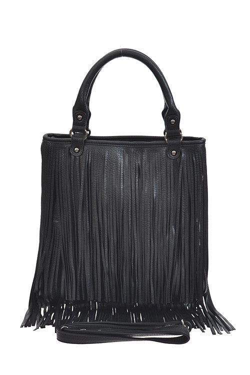Long Fringe Fashion Black Bag