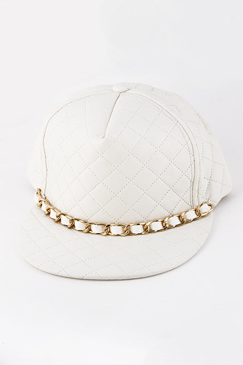 Gold Chain White Quilted Cap