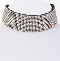 Elegant Rhinestone Lover Wide Choker Necklace
