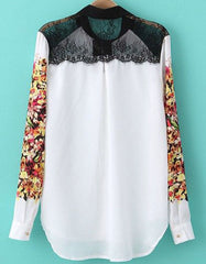 Floral White Blouse with Contrast Lace Shoulder