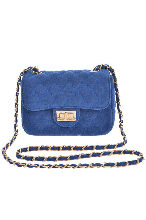 Fashion Blue Clutch with Quilted Detail