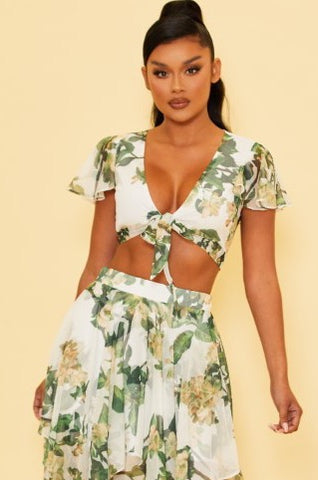 Elegant White Multi-Color Floral Print Front Tie-Up Crop Top