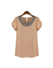 Retro Coral Blouse with Round Neck Beading