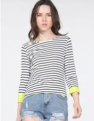 Black & White Striped Long sleeve Top