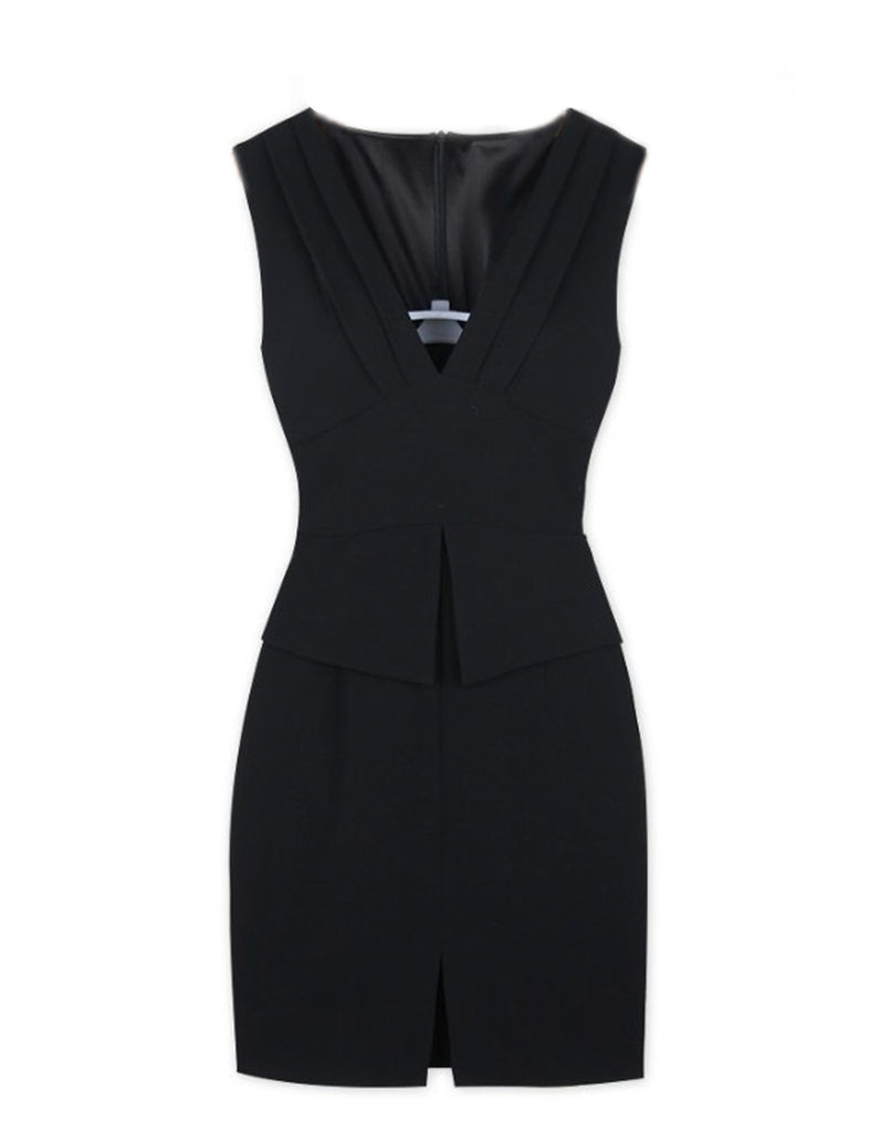 Elegant Black Slim waist Sleeveless Dress