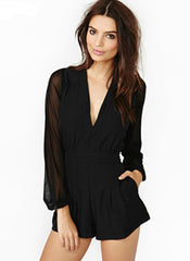 Casual Black V-Neck  Jumpsuit
