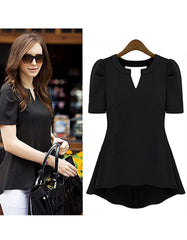 Summer Black shirt with  puff short-sleeve